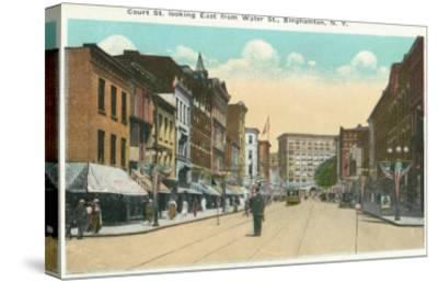 Binghamton, New York - Eastern View of Court Street from Water Street-Lantern Press-Stretched Canvas Print