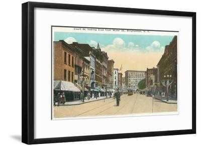 Binghamton, New York - Eastern View of Court Street from Water Street-Lantern Press-Framed Art Print