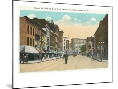 Binghamton, New York - Eastern View of Court Street from Water Street-Lantern Press-Mounted Art Print