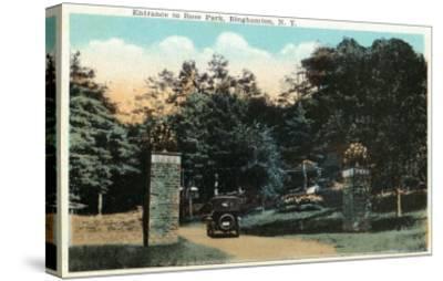 Binghamton, New York - Ross Park Entrance View-Lantern Press-Stretched Canvas Print