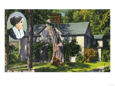 Concord, Massachusetts - View of Louisa May Alcott House-Lantern Press-Framed Art Print