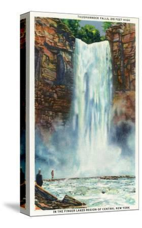 Ithaca, New York - View of Taughannock Falls from the Bottom-Lantern Press-Stretched Canvas Print