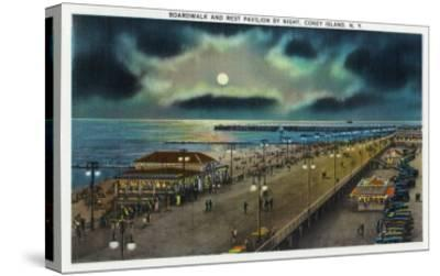Coney Island, New York - Boardwalk and Rest Pavilion View at Night-Lantern Press-Stretched Canvas Print