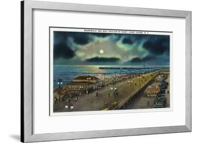 Coney Island, New York - Boardwalk and Rest Pavilion View at Night-Lantern Press-Framed Art Print