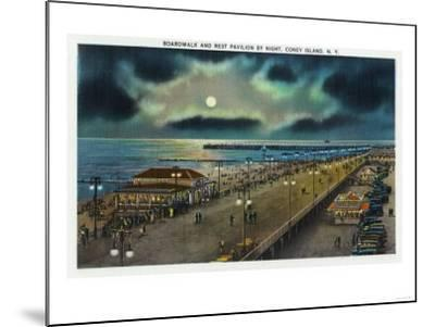 Coney Island, New York - Boardwalk and Rest Pavilion View at Night-Lantern Press-Mounted Art Print