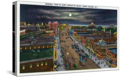 Coney Island, New York - General View of Surf Avenue at Night-Lantern Press-Stretched Canvas Print