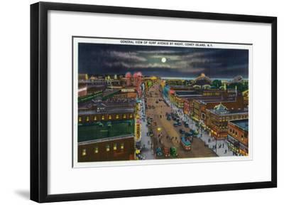 Coney Island, New York - General View of Surf Avenue at Night-Lantern Press-Framed Art Print