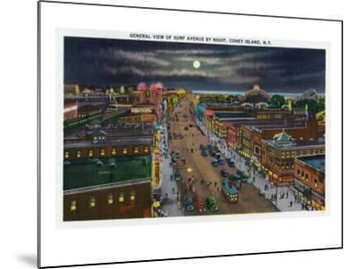 Coney Island, New York - General View of Surf Avenue at Night-Lantern Press-Mounted Art Print