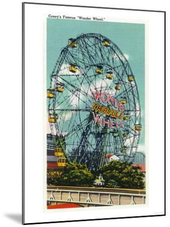 Coney Island, New York - View of the Famous Wonder Ferris Wheel-Lantern Press-Mounted Art Print