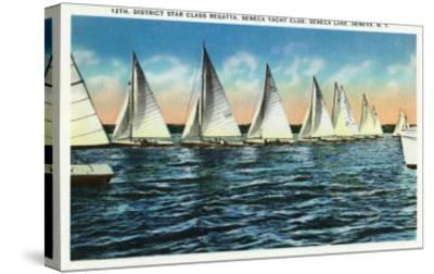 Geneva, New York - Seneca Yacht Club, 12th District Star Class Regatta Scene-Lantern Press-Stretched Canvas Print
