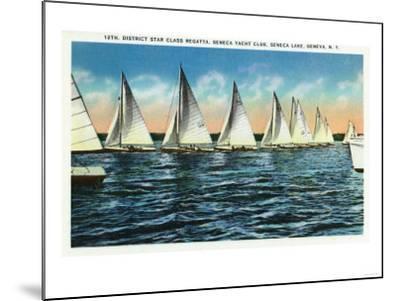 Geneva, New York - Seneca Yacht Club, 12th District Star Class Regatta Scene-Lantern Press-Mounted Art Print