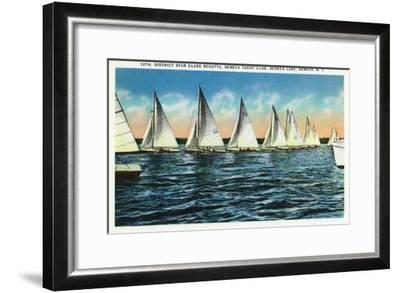 Geneva, New York - Seneca Yacht Club, 12th District Star Class Regatta Scene-Lantern Press-Framed Art Print