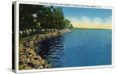Geneva, New York - Seneca Lake Park View of Shoreline, Pavilion, and Swimmers-Lantern Press-Stretched Canvas Print