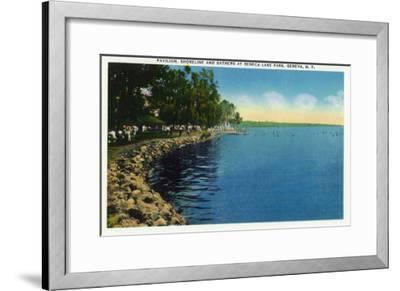 Geneva, New York - Seneca Lake Park View of Shoreline, Pavilion, and Swimmers-Lantern Press-Framed Art Print