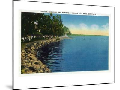 Geneva, New York - Seneca Lake Park View of Shoreline, Pavilion, and Swimmers-Lantern Press-Mounted Art Print
