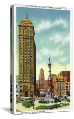 Buffalo, New York - Lafayette Square View of Liberty Bank Bldg, City Hall-Lantern Press-Stretched Canvas Print