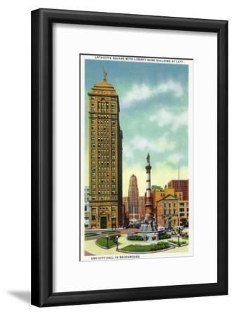 Buffalo, New York - Lafayette Square View of Liberty Bank Bldg, City Hall-Lantern Press-Framed Art Print