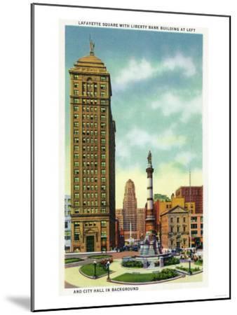 Buffalo, New York - Lafayette Square View of Liberty Bank Bldg, City Hall-Lantern Press-Mounted Art Print