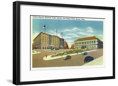 Boston, Massachusetts - Copley Plaza and Square View of the Public Library-Lantern Press-Framed Art Print