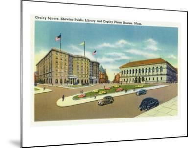 Boston, Massachusetts - Copley Plaza and Square View of the Public Library-Lantern Press-Mounted Art Print