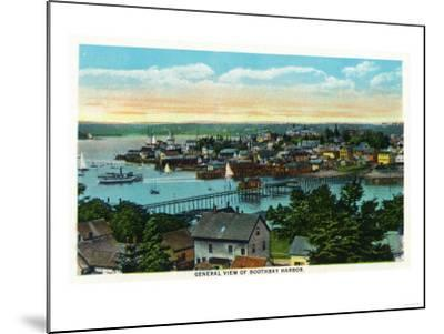 Boothbay, Maine - Aerial View of the Boothbay Harbor-Lantern Press-Mounted Art Print