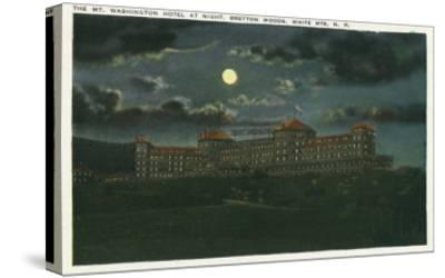 Bretton Woods, New Hampshire - Exterior View of Mt Washington Hotel at Night-Lantern Press-Stretched Canvas Print
