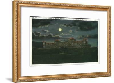 Bretton Woods, New Hampshire - Exterior View of Mt Washington Hotel at Night-Lantern Press-Framed Art Print