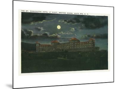 Bretton Woods, New Hampshire - Exterior View of Mt Washington Hotel at Night-Lantern Press-Mounted Art Print