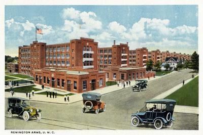 Bridgeport, Connecticut - Exterior View of the Remington Arms, UMC-Lantern Press-Stretched Canvas Print
