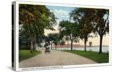 Bridgeport, Connecticut - Seaside Park Drive View Showing Locomobile Company-Lantern Press-Stretched Canvas Print