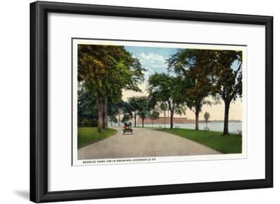Bridgeport, Connecticut - Seaside Park Drive View Showing Locomobile Company-Lantern Press-Framed Art Print