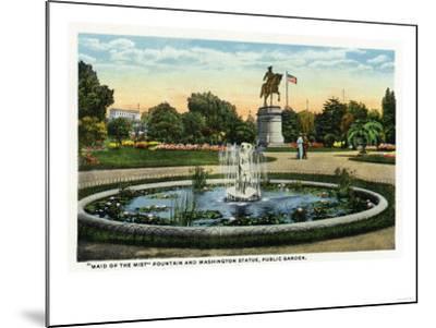 Boston, MA - Maid of the Mist Fountain, Washington Statue, Public Garden View-Lantern Press-Mounted Art Print