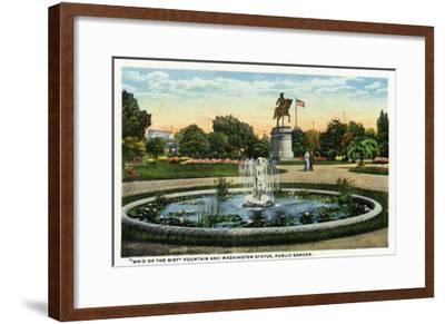 Boston, MA - Maid of the Mist Fountain, Washington Statue, Public Garden View-Lantern Press-Framed Art Print