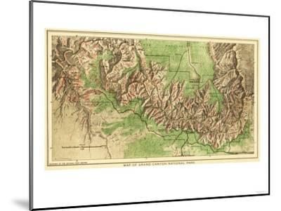 Grand Canyon National Park - Panoramic Map-Lantern Press-Mounted Art Print
