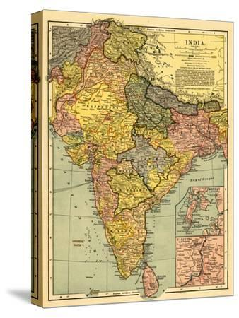 India - Panoramic Map-Lantern Press-Stretched Canvas Print