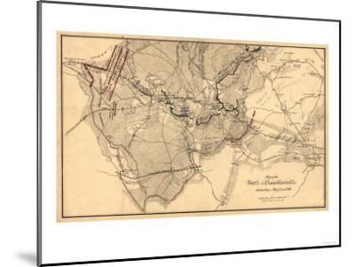 Battle of Chancellorsville - Civil War Panoramic Map-Lantern Press-Mounted Art Print