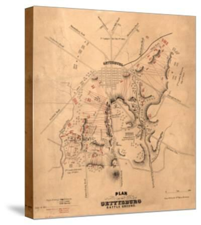Battle of Gettysburg - Civil War Panoramic Map-Lantern Press-Stretched Canvas Print