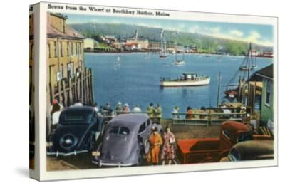 Boothbay Harbor, Maine - Scenic View from the Wharf, Boats and Cars-Lantern Press-Stretched Canvas Print
