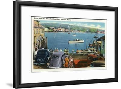 Boothbay Harbor, Maine - Scenic View from the Wharf, Boats and Cars-Lantern Press-Framed Art Print