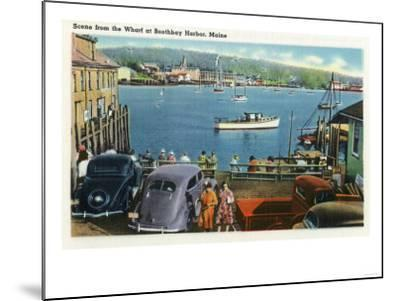 Boothbay Harbor, Maine - Scenic View from the Wharf, Boats and Cars-Lantern Press-Mounted Art Print