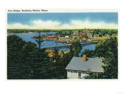 Boothbay Harbor, Maine - View of the Foot Bridge-Lantern Press-Framed Art Print