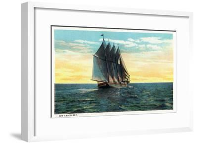 Casco Bay, Maine - View of a Sailboat off the Bay-Lantern Press-Framed Art Print