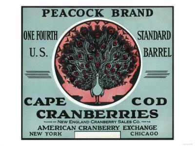Cape Cod, Massachusetts - Peacock Brand Cranberry Label-Lantern Press-Framed Premium Giclee Print