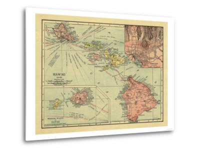 Hawaii - Panoramic State Map-Lantern Press-Metal Print
