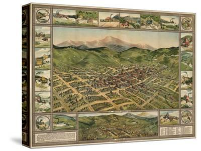 Colorado - Panoramic Map of Cripple Creek No. 2-Lantern Press-Stretched Canvas Print
