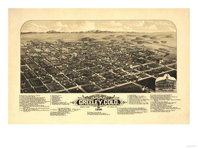 Colorado - Panoramic Map of Greeley-Lantern Press-Framed Art Print