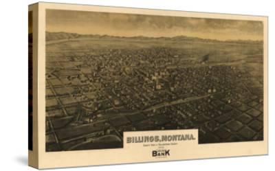 Montana - Panoramic Map of Billings-Lantern Press-Stretched Canvas Print