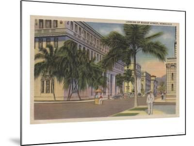 Honolulu, HI - View of Bishop St.-Lantern Press-Mounted Art Print