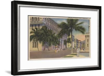 Honolulu, HI - View of Bishop St.-Lantern Press-Framed Art Print