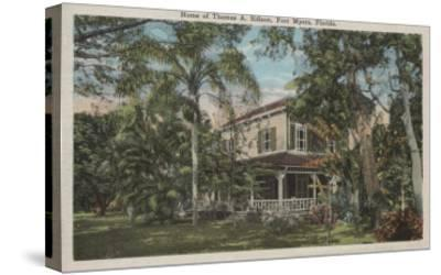 Ft. Myers, Florida - View of Thomas Edison House-Lantern Press-Stretched Canvas Print